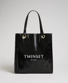 Faux patent leather shopping bag with logo Black Woman 192TA7170-02