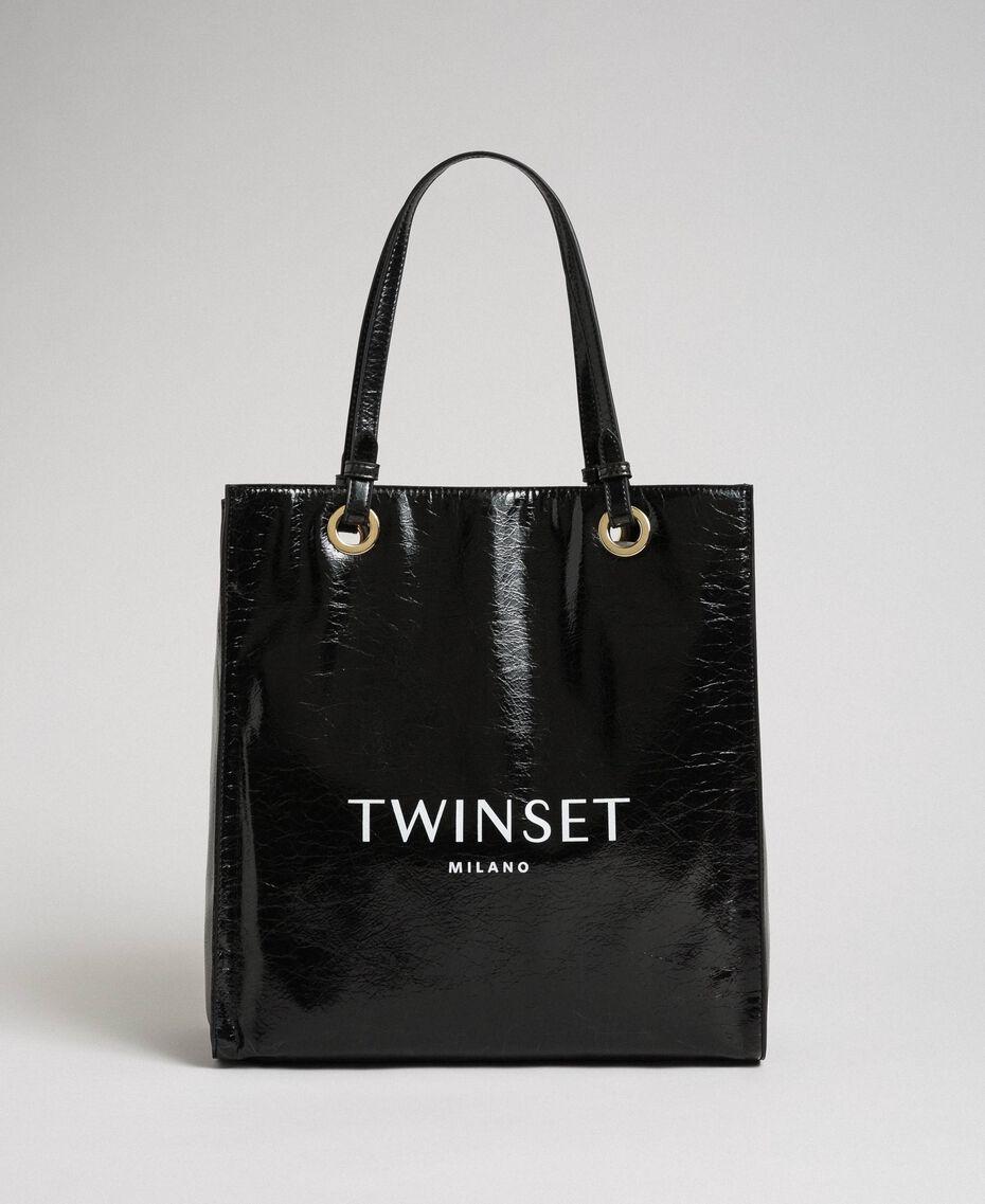 Shopper aus glänzendem Lederimitat mit Logo Schwarz Frau 192TA7170-02