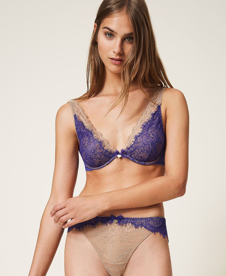 """Two-tone lace Brazilian briefs Two-tone Violet Blue / """"Amber Dust"""" Brown Woman 202LL6A77-02"""
