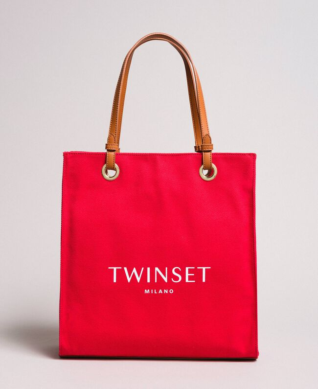 """Medium canvas shopping bag with logo """"Lipstick Red"""" Woman 191TO8200-01"""