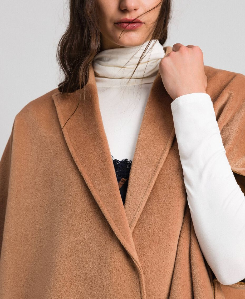 """Velour wool cape """"Camel Skin"""" Beige Woman 192LI2DDD-05"""