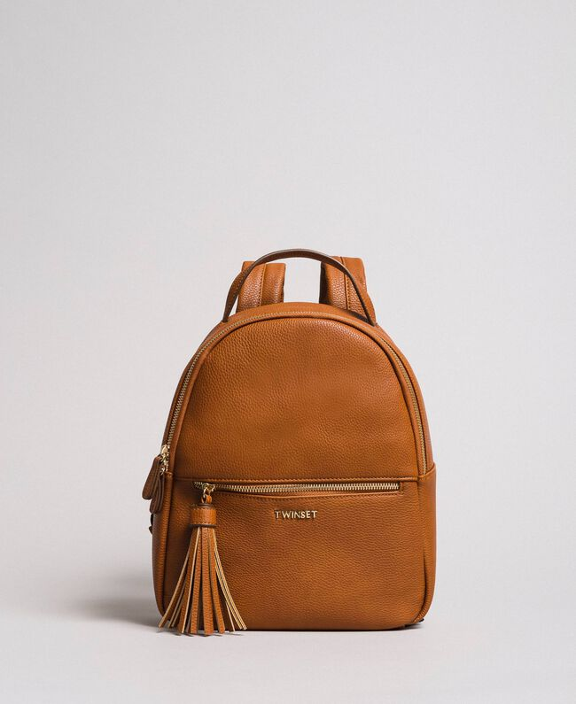 Faux leather backpack with tassel Leather Brown Woman 191TA7603-01