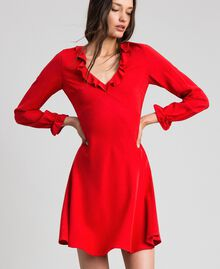 Georgette dress with ruffles Pomegranate Red Woman 192TP2112-01