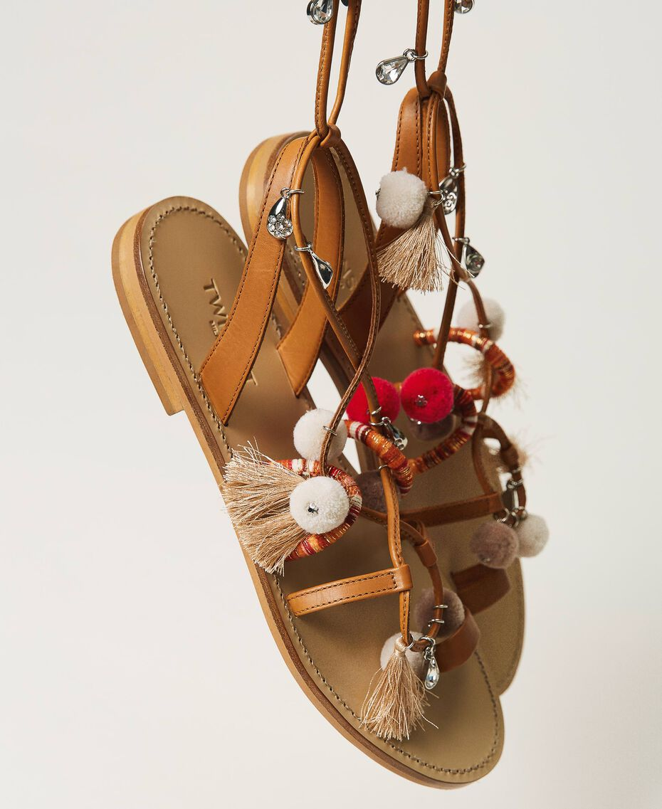 """Leather sandals with pompoms and charms """"Nautical Blue"""" / """"Indigo"""" Blue / Black Multicolour Woman 211TCT180-01"""