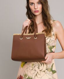 "Faux leather shopping bag ""Earth"" Brown Woman 191MO8091-0S"