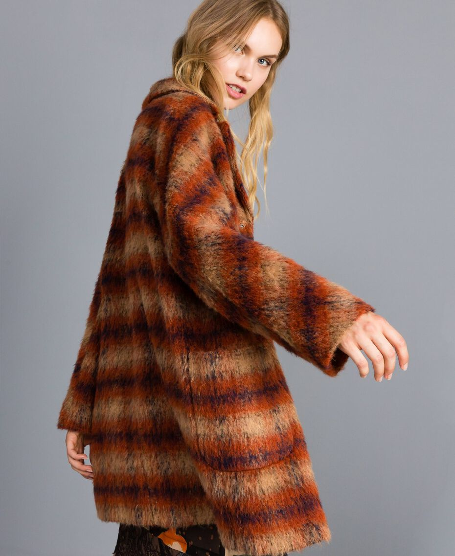 Manteau en drap à carreaux Jacquard Carreaux Déchiré Marron Femme TA821J-03