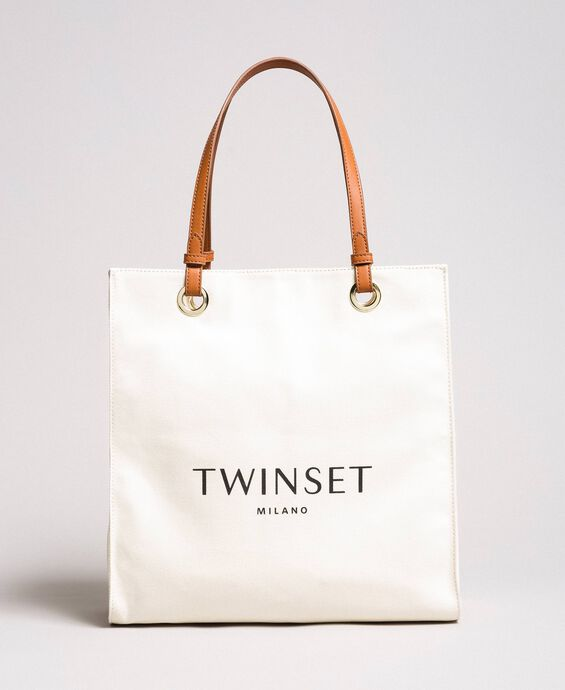 Mittelgroßer Shopper aus Canvas mit Logo
