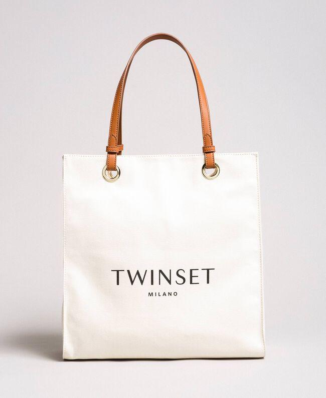 Medium canvas shopping bag with logo White Snow Woman 191TA7610-01
