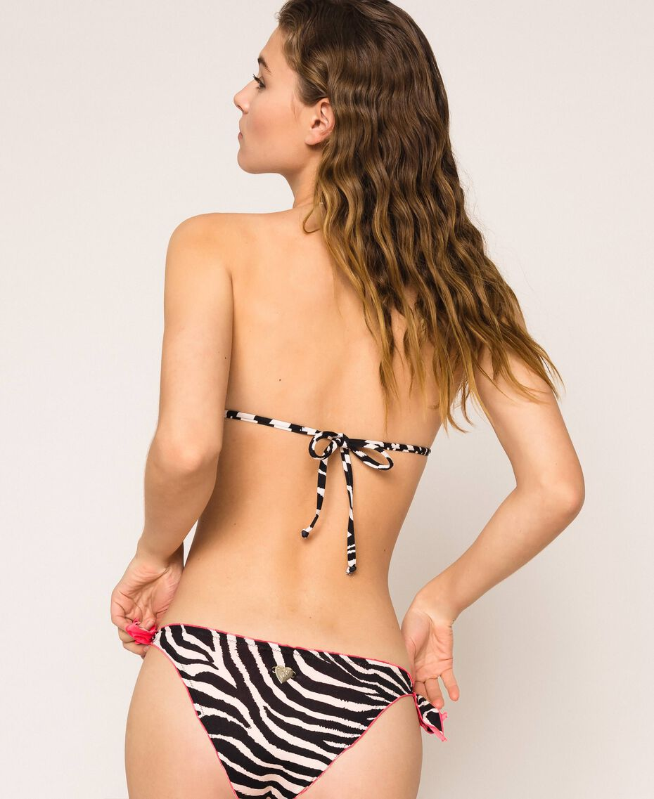 Printed thong bikini bottom with tie-up laces Black Zebra Print Woman 201LBMG88-01