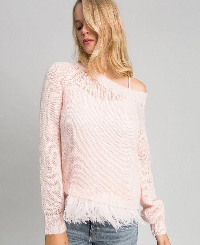 Pull en mohair et top avec plumes Rose «Opale» Femme 192TT3275-01