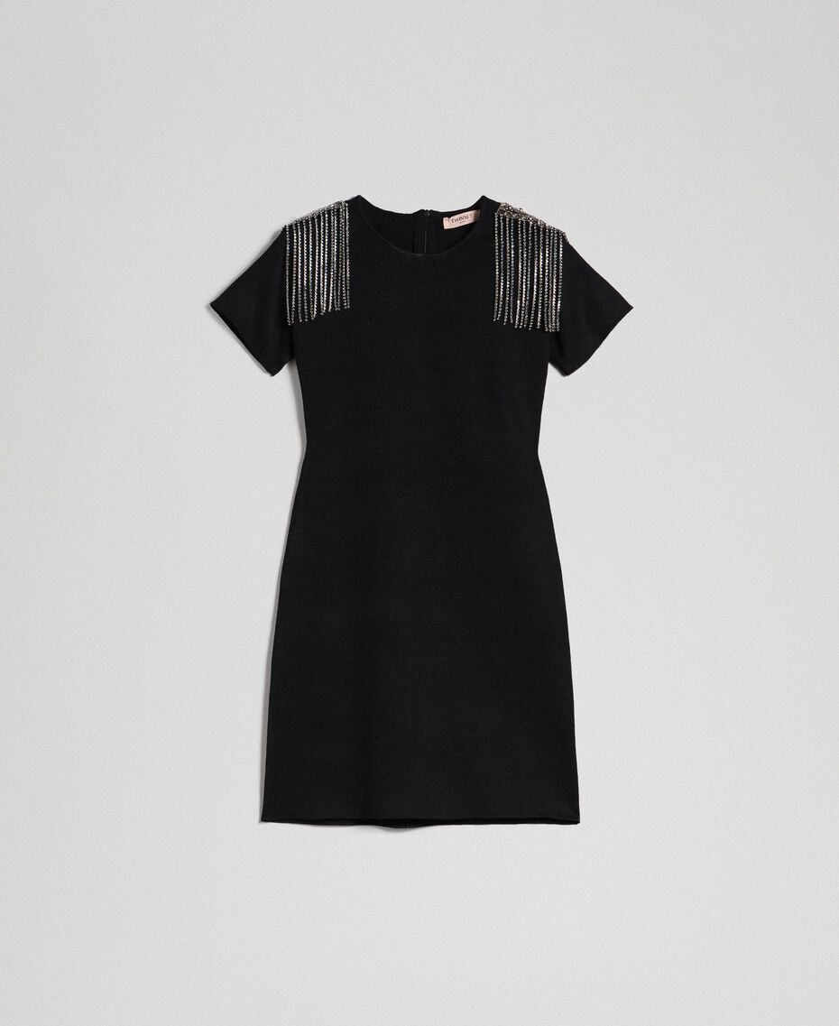 Sheath dress with rhinestone chains Black Woman 192TT3075-0S