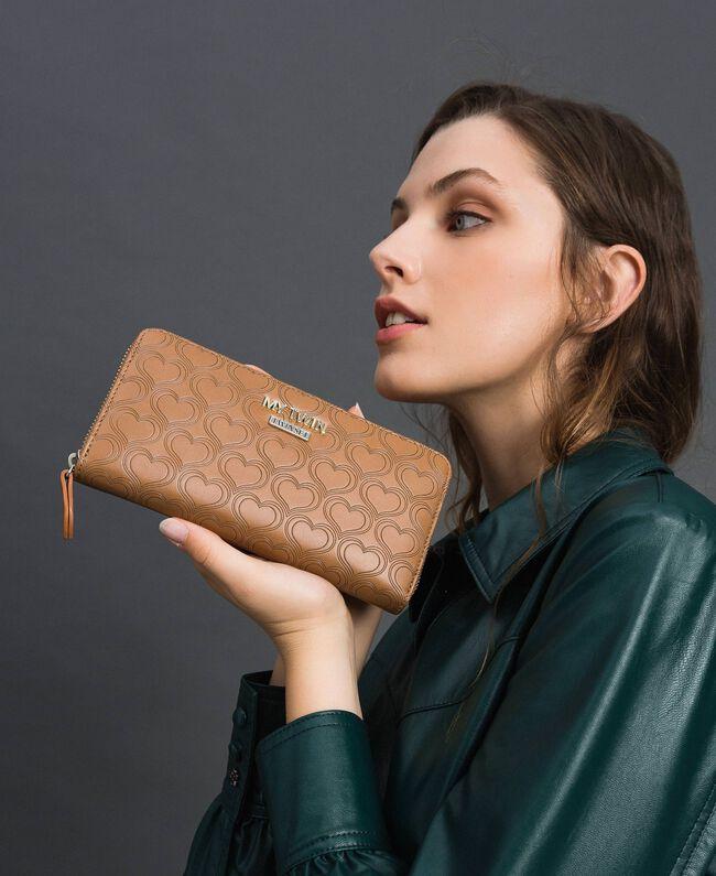 Heart print faux leather wallet Irish Cream Hazelnut Woman 192MA7015-0S