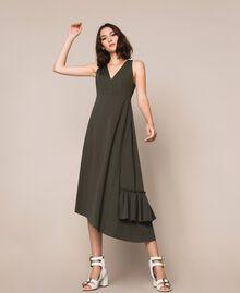 Long asymmetric dress with flounce Elm Green Woman 201ST2142-04