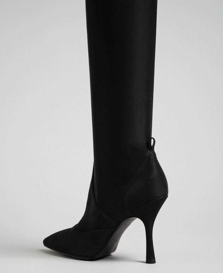 Сапоги-ботфорты на шпильке Черный женщина 192MCP036-03