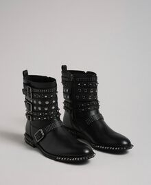 Leather biker boots with straps and studs Black Woman 192TCP01Q-01