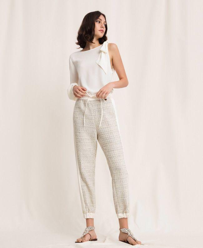 Bouclé fabric joggers Multicolour Ivory / Silver Grey Woman 201TP2231-01