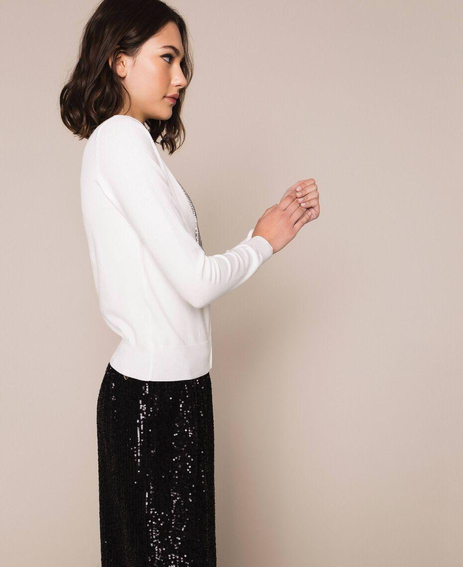 Cardigan décoré de franges en strass Blanc Neige Femme 201TP3083-03