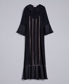 Long silk blend pleated dress Black Woman TA823N-0S