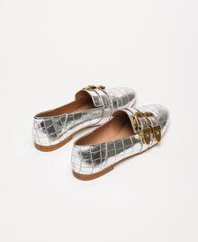 "Leather moccasins with crocodile print ""Titanium"" Grey Croc Print Woman 201TCP050-04"