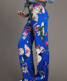Floral satin palazzo trousers Wind Flower Cornflower Blue Print Woman 191TP2472-04