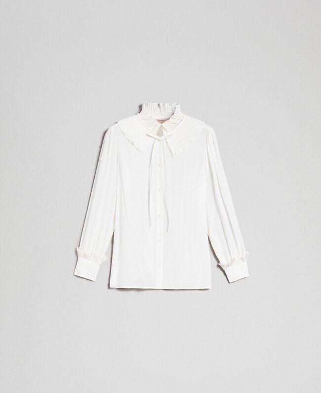 Hemd aus Crêpe de Chine aus Seidenmischung Weiß Schnee Frau 192TP2100-0S