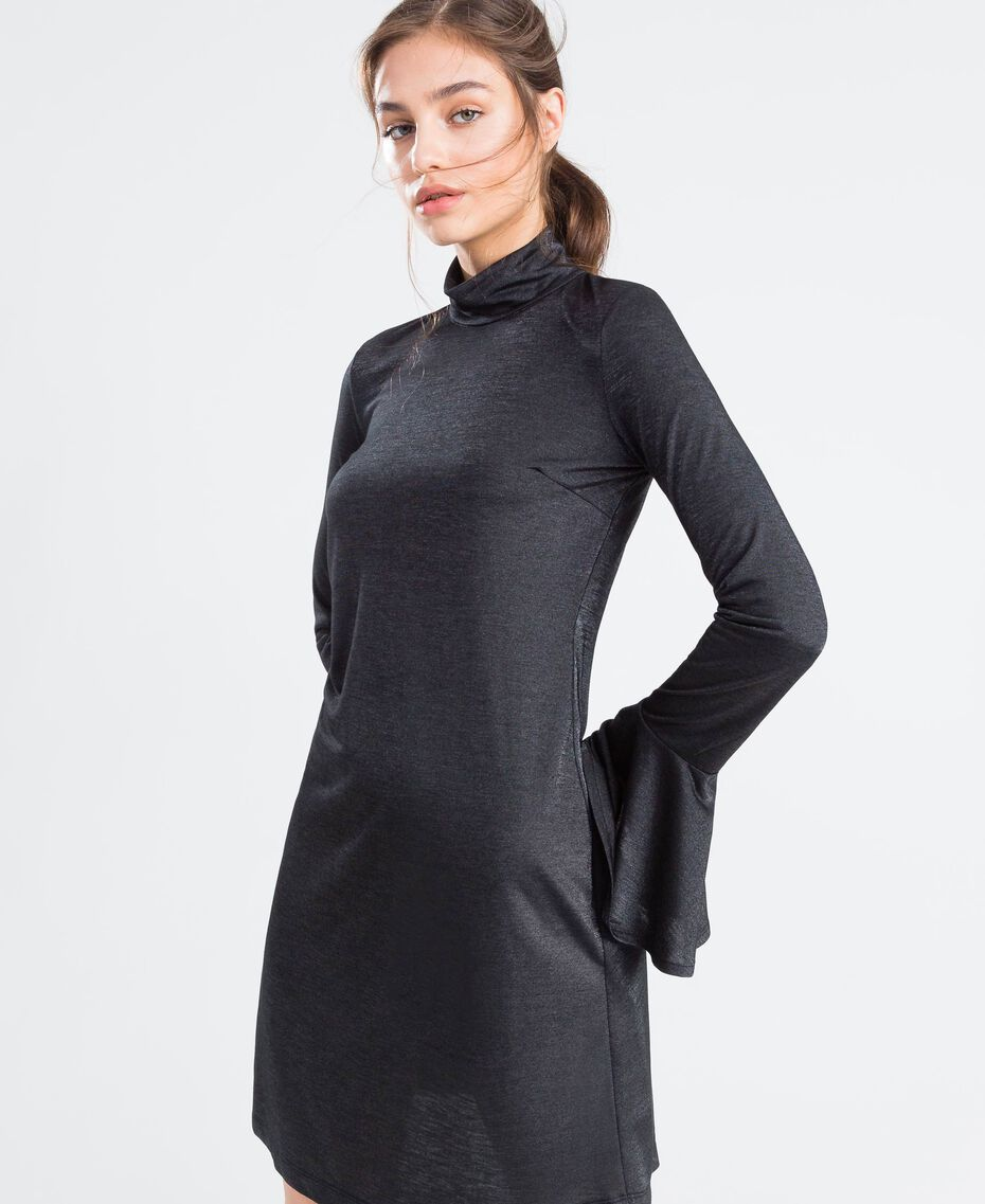 Jersey and lurex dress Black Woman LA8AEE-0S