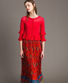 "Crêpe yarn flounced cardigan ""Lipstick Red"" Woman 191TT3020-04"