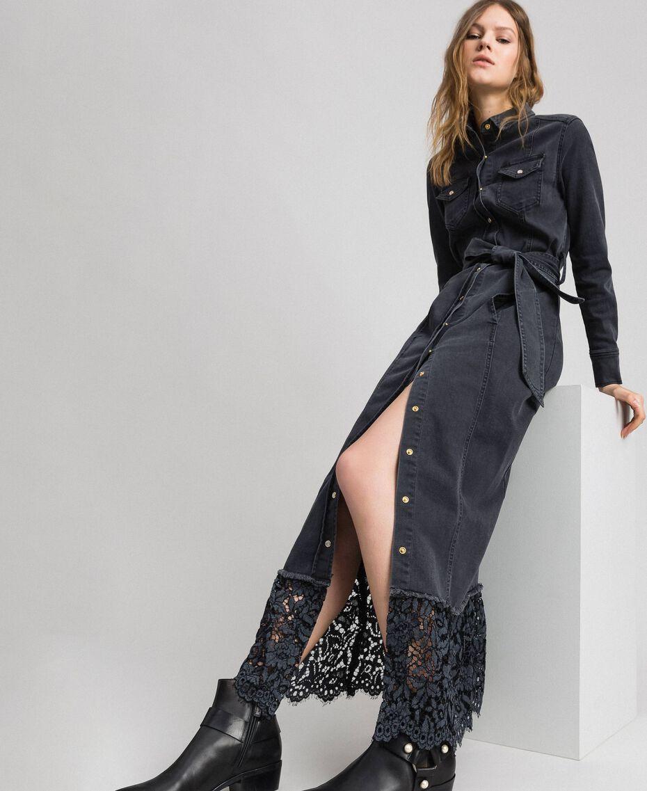 Black denim shirt dress with lace flounce Black Denim Woman 192MP2330-05