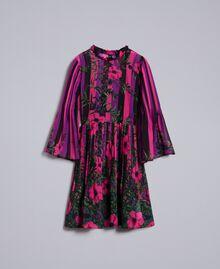 """Kleid aus Chiffon mit Blumenprint Print """"Flower&Stripes"""" Frau TA829Q-0S"""
