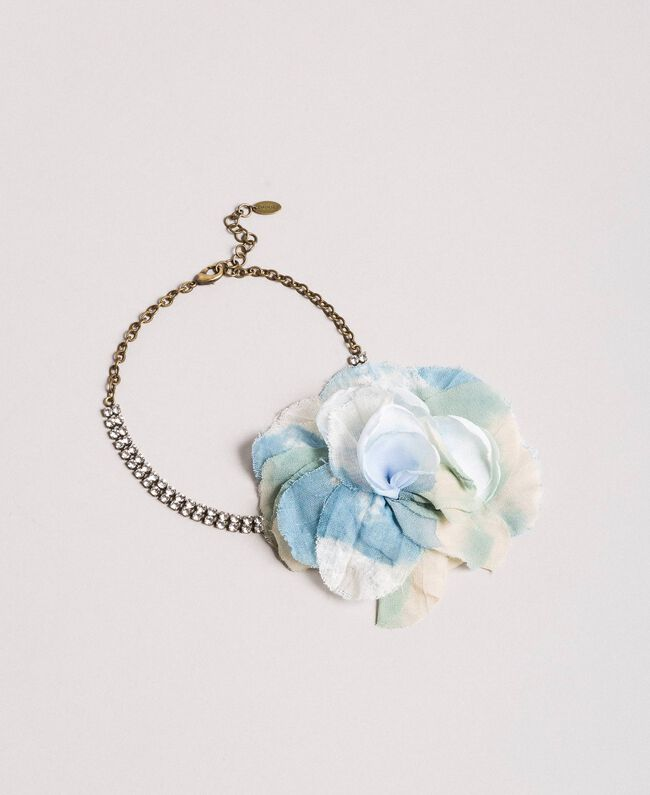Rhinestone choker with flower Mykonos Light Blue Woman 191TA431H-01