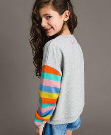 Cotton knitted striped sweatshirt Melange Grey / Multicolour Striping Child 191GJ2451-03