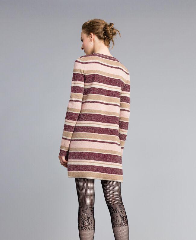 Minikleid aus Lurex mit Streifen Mehrfarbig Rosa / Bordeaux Frau PA832P-03