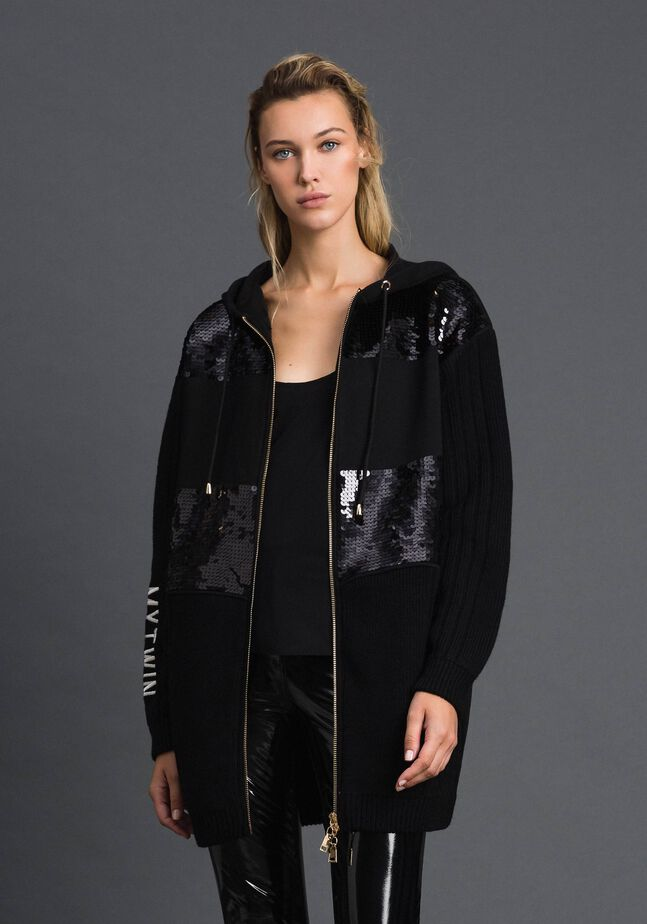 Caban jacket with same tone sequins