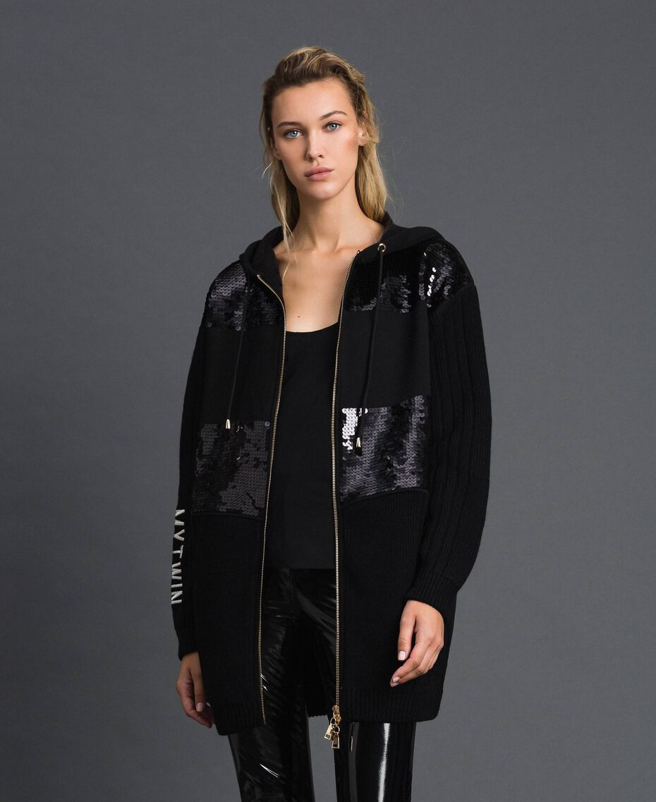 Куртка-бушлат с однотонными пайетками Черный женщина 192MP3110-01