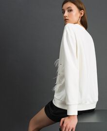 Sweatshirt with stones and feathers Milk White Woman 192TT2131-03