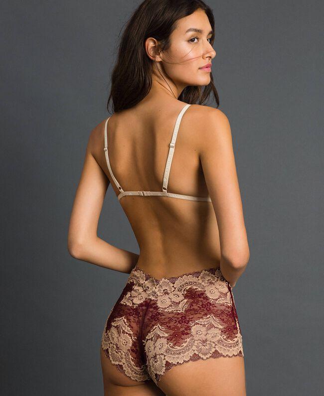 Soutien-gorge triangle ampliforme en dentelle bicolore Rouge Violet / Beige Foncé Femme 192LL6D11-03