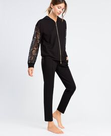Zip-up viscose sweatshirt with lace Black Woman IA8CEE-02