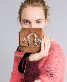 Mini velvet shoulder bag with embroidery and rhinestones Camel Woman AA8PBP-0S