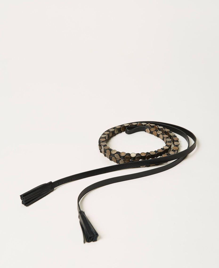 Ledergürtel mit Nieten Schwarz Frau 211TO506D-01