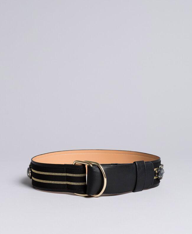 Gürtel aus Leder mit Stickerei Zweifarbig Schwarz / Gold Frau AA8P4B-01