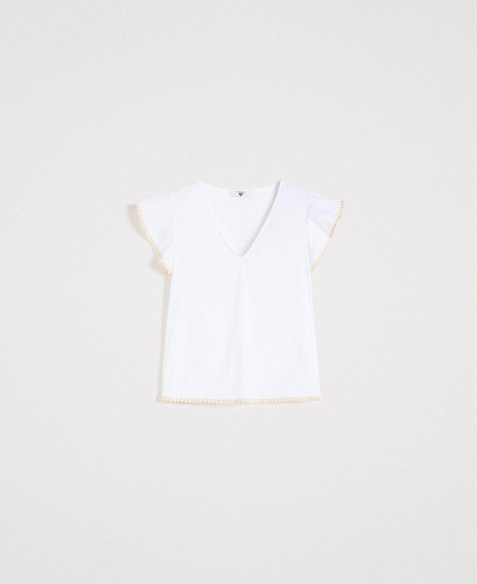 Poplin T-shirt White Woman 191LB2JDD-0S
