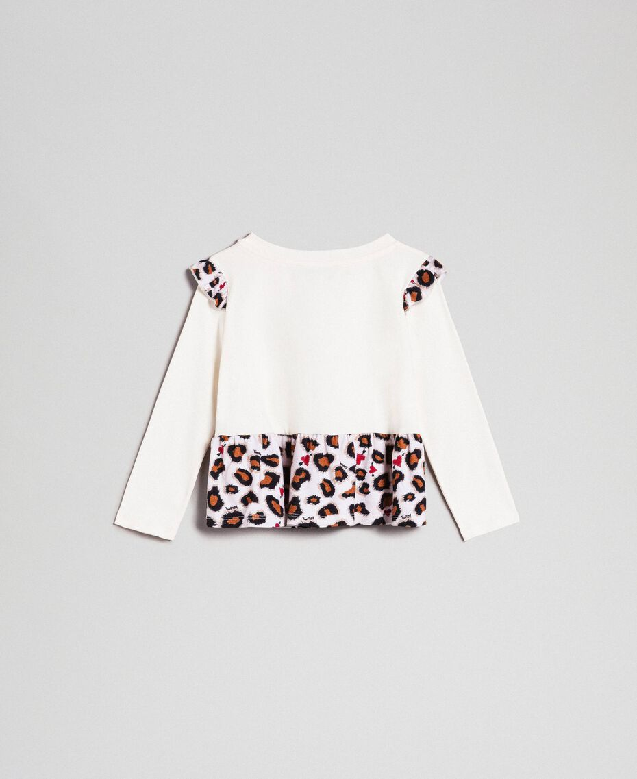 T-shirt with print and flounce at the hem Chantilly / Leopard Print Child 192GB2440-0S