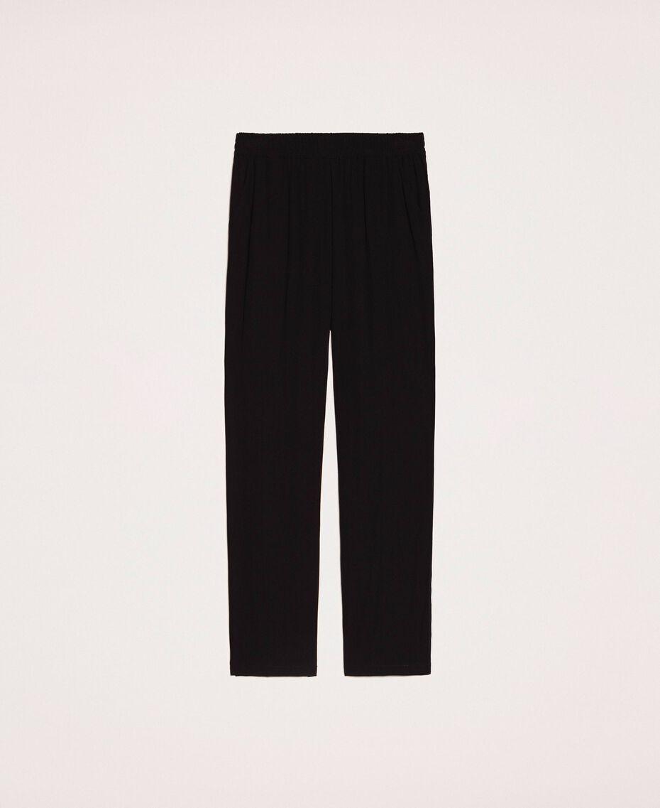 Crêpe cigarette trousers Black Woman 201LB25JJ-0S