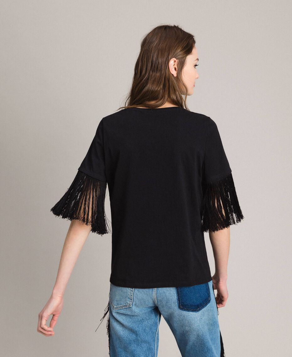 Embroidery and fringe T-shirt Black Woman 191TT2131-03