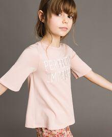 T-Shirt aus Jerseystoff mit Stickerei Blütenrosa Kind 191GJ2032-02