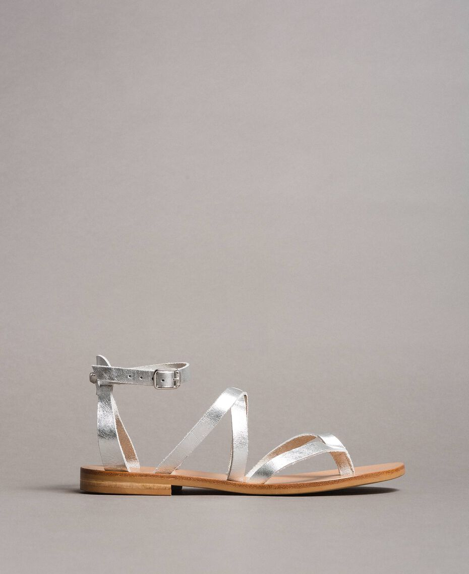 Laminated leather sandals with straps Silver Woman 191TCT09W-01
