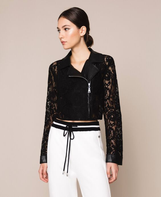 Macramé lace biker jacket