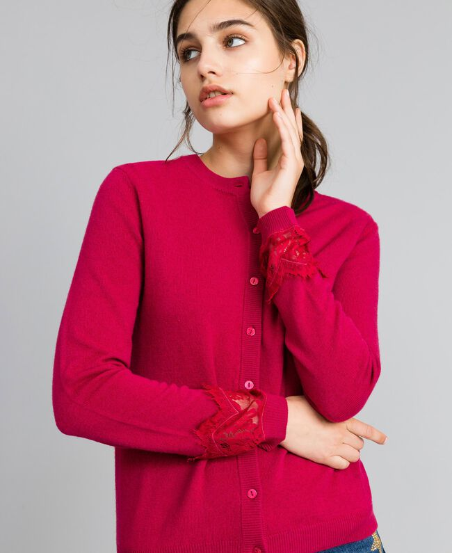 "Wool and cashmere mandarin collar top with lace ""Azalea"" Fuchsia Woman TA83AJ-01"