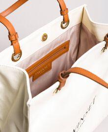 Mittelgroßer Shopper aus Canvas mit Logo Weiß Schnee Frau 191TA7610-04