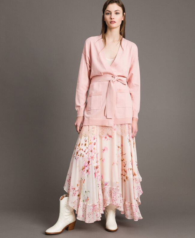 Maxi cardigan with belt Pink Pearl Woman 191TP3037-0T
